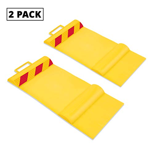 RaxGo Car Parking Mat, Garage Wheel Stopper Parking Aid, Tire Guides for Cars, Trucks & Other Vehicles | Anti-Skid Grips, Easy Install Adhesive, Carry Handles & Reflective Strips | Pack of 2 Mats