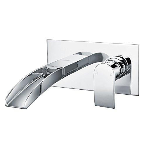 Wasserrhythm Waschtischarmatur Wandarmatur Bad für Aufsatzwaschbecken Einhebel-Waschtischmischer Armatur Wasserfall Wandmontage Unterputz Wasserhahn, Messing verchromt