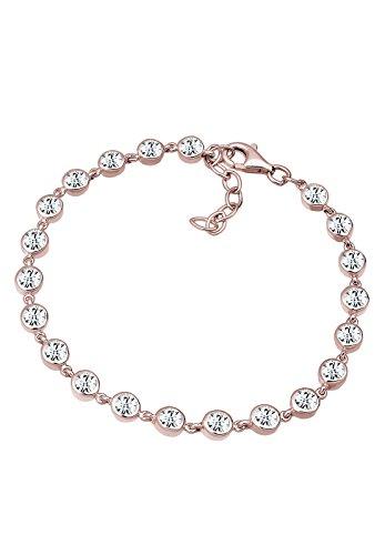 Elli Premium Damen-Armband 925 Sterling-Silber teilvergoldet Kristall weiß Facettenschliff 18 cm