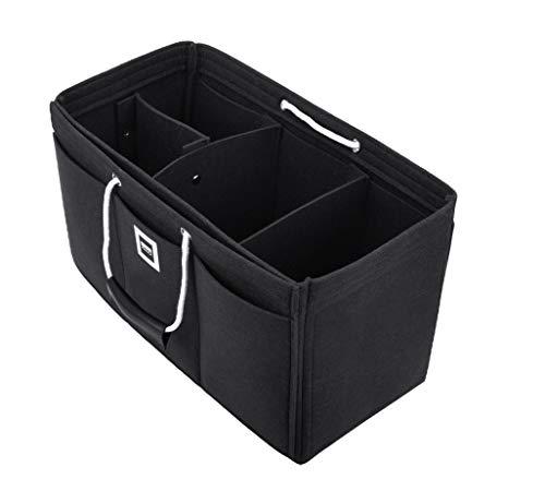 FFITIN Taschenorganizer Filz – Handtaschenorganizer mit Tragegriffen | Bag in Bag | XL Handtaschenordner (Charcoal Black, XXL - XXLarge (37 x 17 x 17 cm))