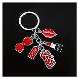 Xx101 Llavera Moda Exquisito Llavero Gafas Billetera Billetera Labios Accesorios creativos pequeños Regalos señoras Mujeres Bolsas Llavero Adornos (Color : Red)