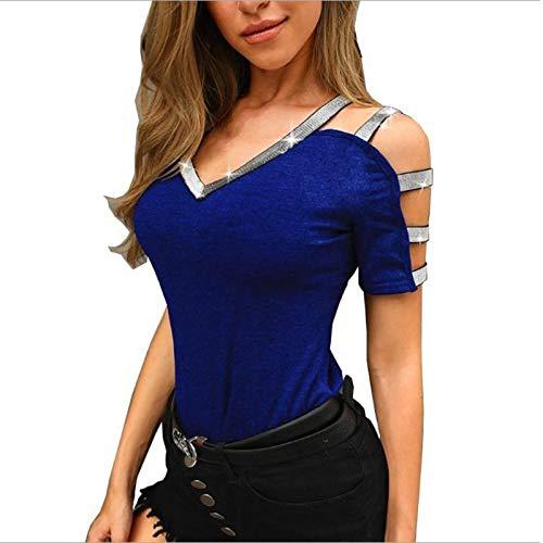 Blusa de Mujer, Camiseta de Manga Corta con Cuello en V de Moda para Mujer, Camisetas Populares Populares y Sexy, Ropa para Mujer (Azul M)