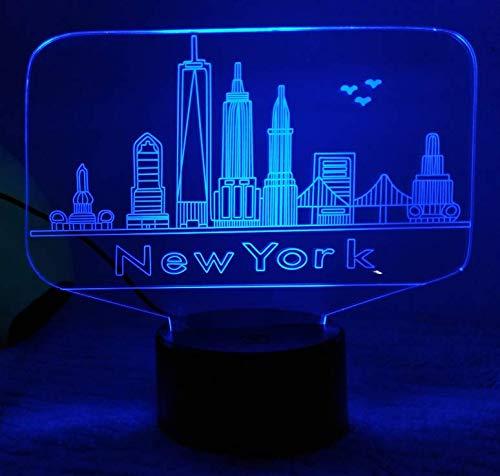 HPBN8 Ltd Illusion Optique 3D New York Nuit Lampe Art Déco Lampe Lumières LED Décoration Lampes Touch Control 7 Couleurs Change Veilleuse USB Powered Enfants Cadeau Anniversaire Noël Cadeaux