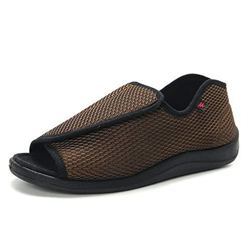 Zeer brede echtedamesschoen voor dames, dikmakende diabetische voetschoenen, verstelbare losse sandalen-UK5.5_Brown, ouderengezwollen voeten Diabetes
