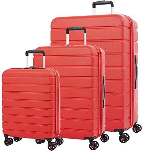 Conjunto de maleta superior Conjuntos rojos escalables con carga USB   Scratch,Red
