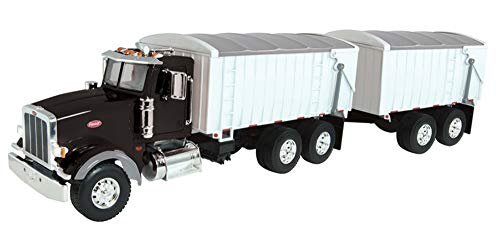 ERTL Big Farm Lights & Sounds Peterbilt 1: 16 Model 367  Straight Truck W/ Grain Box & Grain Box Pup Trailer Toy