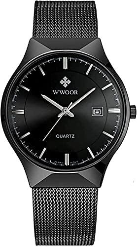 ZFAYFMA Reloj de hombre de moda, ultrafino, minimalista, analógico, de cuarzo, correa de malla de acero inoxidable, resistente al agua, color negro