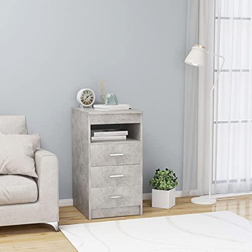 Susany Cajonera Con 3 Cajones y 1 Estante Mueble de Almacenamiento para Salón Dormitorio de Aglomerado Gris Hormigón 40x50x76 cm