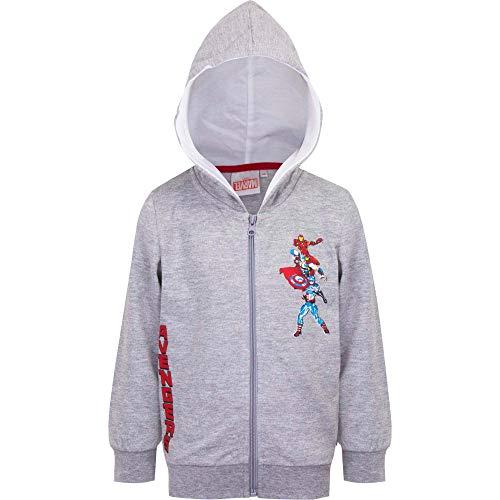 Marvel Avengers Sweatjacke Pullover-Jacke Hoodie Kapuze Reißverschluss, Farbe:Grau, Größe:116 (6 A)