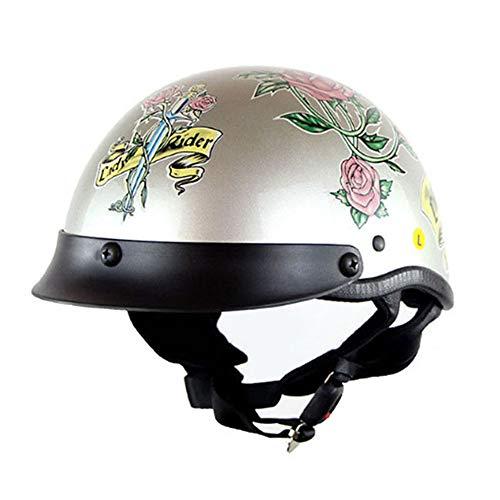 CPSTM Jethelm Motorrad Micro Roller Helm MTB Bike Motorrad Kleinkind Helm Kinder Motorrad Halbhelm Auto Puffer Kinnriemen Schädel Kappe Maßband Größe für Männer und Frauen (8,M)