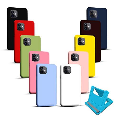 10X Fundas para iPhone 11 6.1 Pulgada+Soporte de teléfono,Carcasa Silicona Suave, Cover TPU anticaídas, Case Protectora Flexible Ultra-Delgado Color Puro.