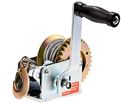 SoB 600lbs Capacity Heavy Duty Hand Winch, Hand Crank Strap Gear Winch with 8m Steel Wire, Manual Operated Two-Way Ratchet ATV Boat Trailer Marine (600LBS)