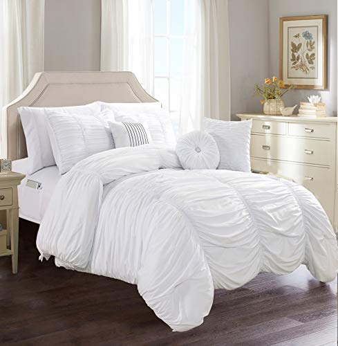 Elegant Comfort Luxury Best, Softest, Coziest 10-Piece Bed-in-a-Bag Pleated Comforter Set, Ruched Ruffle Comforter Set Includes Bed Sheet Set with Double Sided Storage Pockets, Full/Queen, White