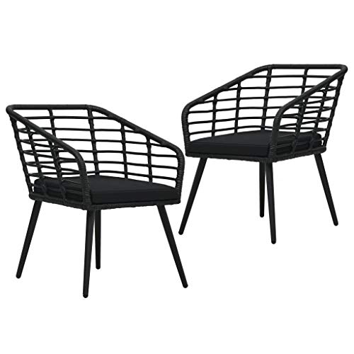 vidaXL 2X Gartenstuhl mit Auflagen Gartensessel Balkonstuhl Stuhl Sessel Rattanstuhl Terrassenstuhl Bistrostuhl Gartenmöbel Poly Rattan Schwarz
