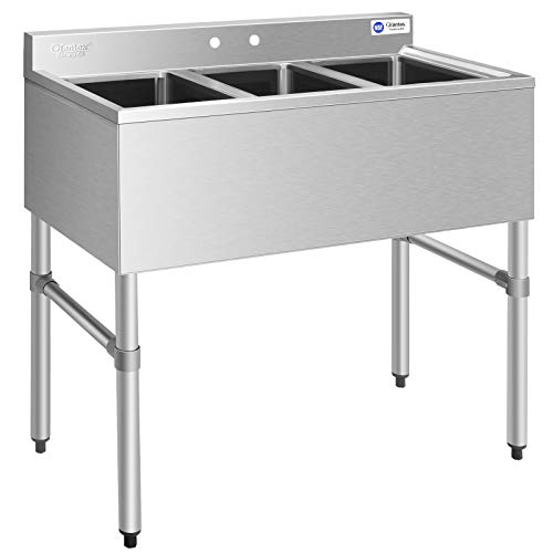 Giantex 3 Compartment Commercial 304 Stainless Steel Sink, Free Standing Triple Bowl Kitchen Sinks w/ 3 Basket Strainer Drains, 10