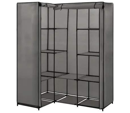 Armario esquinero de tela para dormitorio, armario de dormitorio con riel, 130 x 87 x 169 cm