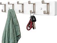 HLWJXS コートラック 5 フック ウォール フック 24 インチ コート フック コート、スカーフ、寝室の財布、クローゼット ルーム、キッチン、竹の省スペース ハンガー,C,5フック