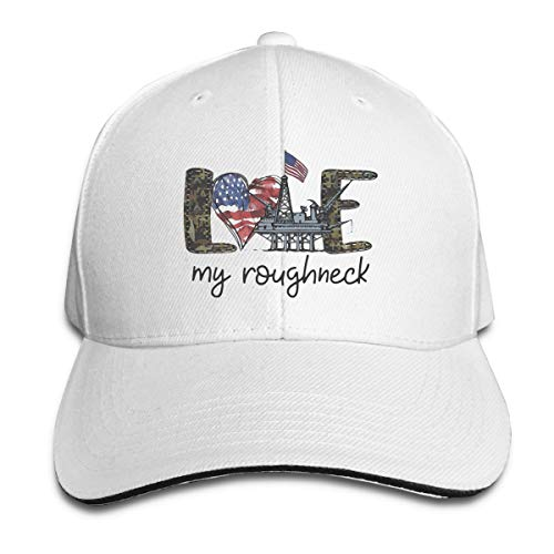 Love My Roughneck American Flag Independence Day Unisex Vintage Adjustable Baseball Cap Dad Hat Driver Cap White