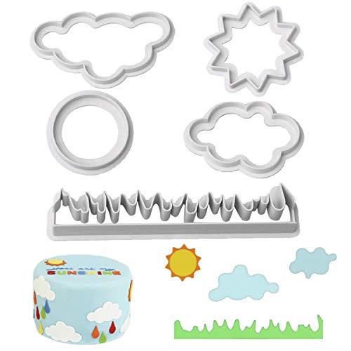 KAISHANE Keks Grass Sonne Wolken Plastik süß Fondant Kuchen Backen Plastik 5 PCS