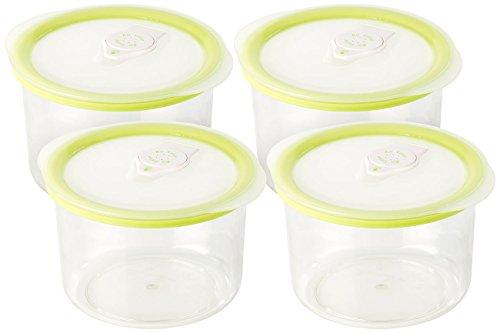Rosenstein & Söhne Vakuumierbehälter: Runde Vakuumierdose mit 0,6 Liter Volumen, 14,2 x 8,3 cm, 4er Set (Vakuum-Vorratsdose)
