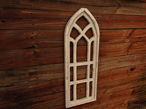 36' distressed Catherdral window SOLID WOOD Decorative window wall hanging, door decor, handmade in Texas window display