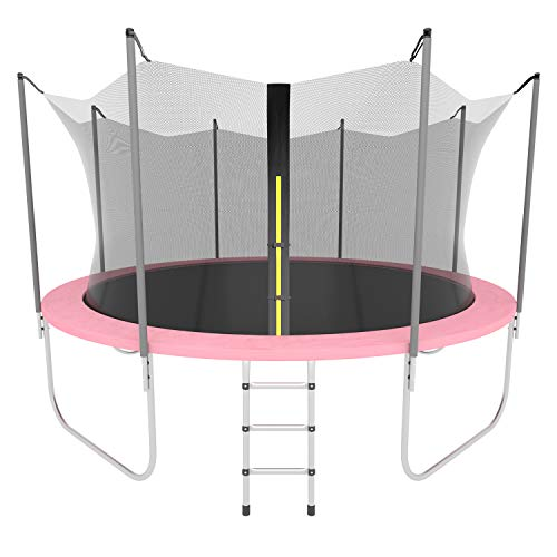 AOTOB 14 FT Trampoline for Kids with Safety Enclosure Net,Ladder Trampoline for Kids,Spring Pad, Ladder, Combo Bounce Jump Trampoline, Pink Outdoor Trampoline for Kids, Adults…