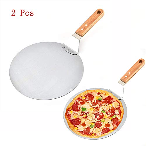 XDJ Pelle À Pizza en Aluminium De 10 Pouces avec Manche en Bois Long, Pelle De Cuisson pour Gâteau À Pizza, Utilisée pour Transférer La Pizza, Le Gâteau, La Crêpe, La Pâtisserie(2Pcs)
