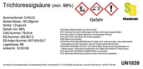 S3 Chemicals Trichloressigsäure (min. 99%) Gebindegröße 100g