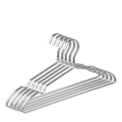 Amber Home 20 Unidades 42cm Perchas de Hierro Aluminio, Plata Metálico Percha para Trajes Camisetas Camisas Chaquetas Vestidos Faldas Pantalones, con Ranuras Antideslizantes