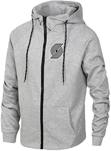 Funnyy Sudadera Unisex, Baloncesto Deportes Chaqueta Hombres Sudadera Trail Blazers de Portland Formación Capucha suéter Manga Larga Cardigan Gris-M (Color : Grey, Size : Medium)