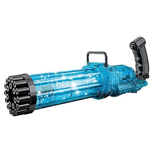 Gatling Bubble Gun Seifenblasenmaschine Bubble Elektrische Seifenblasenmaschine mit LED-Licht und Musik für Kinder 21-Loch-Sprudelmaschine