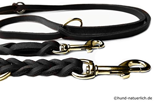 hund-natuerlich Fettleder Führleine geflochten Messing 2,40m oder 3m Hundeleine aus Leder in schwarz (3m x 15mm)