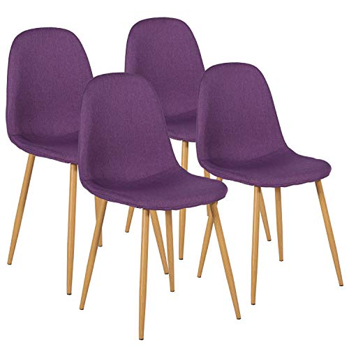 VECELO Chairs for Kitchen/Dining/Living/Lounge Room Fabric Cushion Seat Back Sturdy Metal Legs, Set of 4, Purple