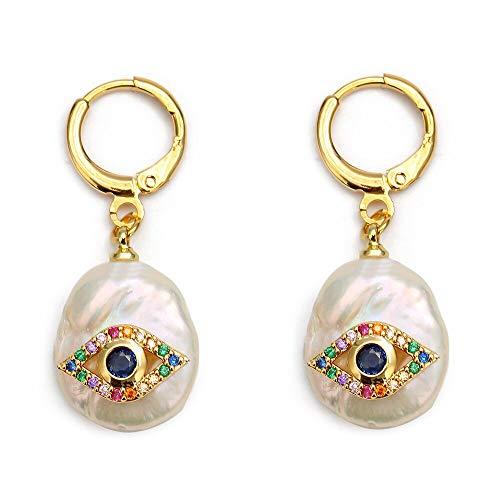 1 par de pendientes de gota de mano con diseño de Corea Cz Hamsa pendientes de perlas de círculo irregular barroco de mal de ojo para joyería de mujer