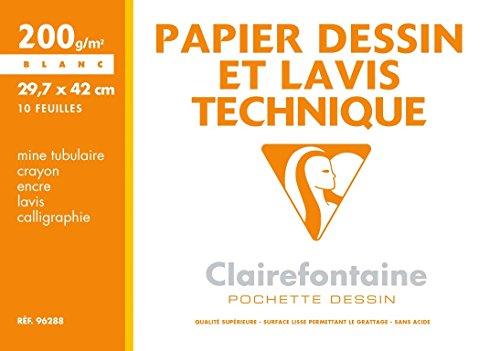 Clairefontaine 96288C Mappe Zeichenpapier (ideal für technische Zeichnungen, DIN A3, 29,7 x 42 cm, 10 Bögen, 200 g) weiß