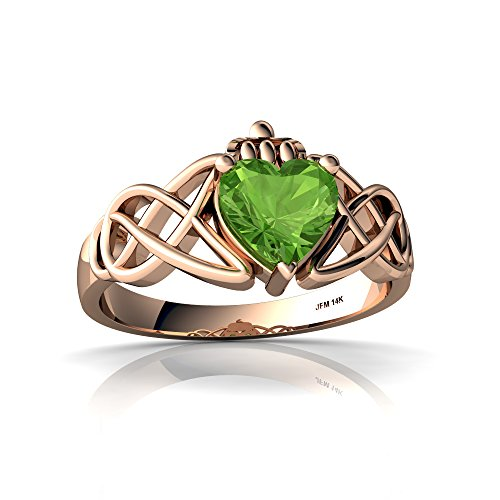 14kt Rose Gold Peridot 6mm Heart Claddagh Celtic Knot Ring - Size 7.5