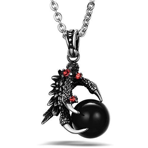 JewelryWe Schmuck Biker Edelstahl Halskette, Drachen Klaue Herren-Anhänger mit 55cm Kette, Schwarz Silber, mit Geschenk Tüte
