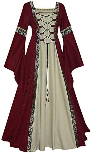 Remikstyt Womens Renaissance Medieval Dress Trumpet Sleeve Retro Costume Over Dress Burgundy product image