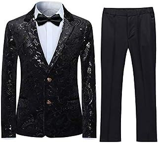 Boyland Boys Jacquard Suit Slim Fit Tuxedo Suits Jacquard Notch Lapel Tux Jacket Pants Party Formal Wear