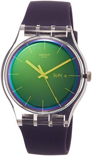 Swatch Damen Analog Quarz Uhr mit Silikon Armband SUOK712