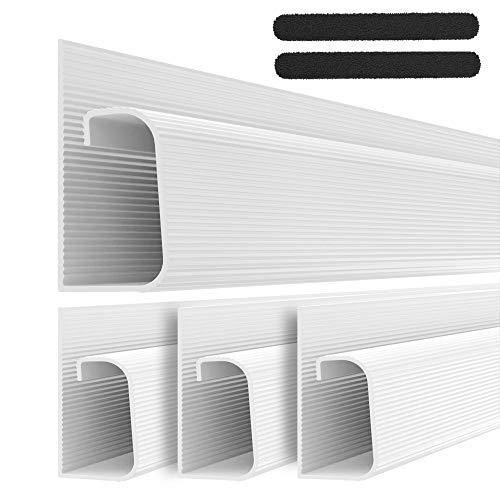 J Channel Kabelkanal Set - Kabel Organizer für Schreibtisch - 4x 41cm Weiß Untertisch Kabelmanagement für Büro und Zuhause