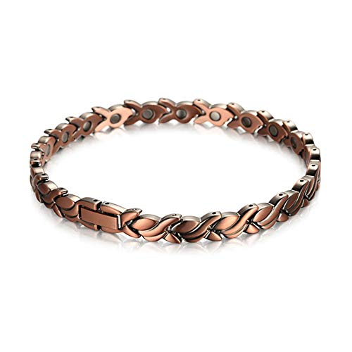 Z&HA Womens 99.95% Pure Copper Magnetic Handmade Bracelets with 20 Powerful Magnets, 3500 Gauss - Effective & Natural Relief for Joint Pain and Arthritis, Best Gift,HA1551