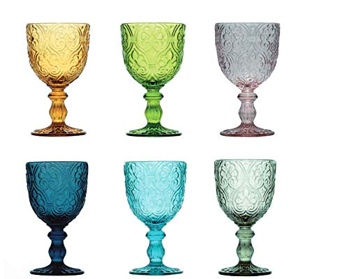 Pagano Home - 6 copas de cristal para agua/vino de colores surtidos,...