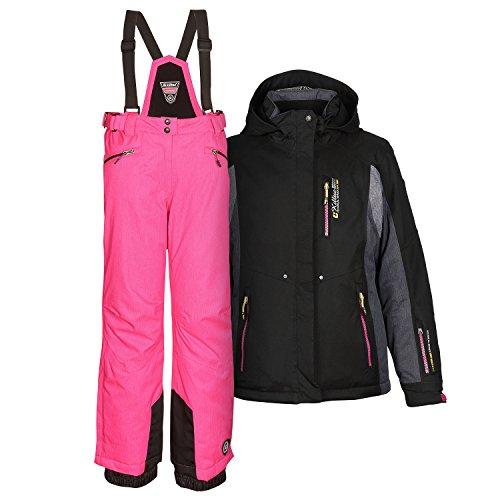 Killtec Damenskianzug Skianzug Frauen Skijacke Abril schwarz + Skihose Hila pink – Gr. 40