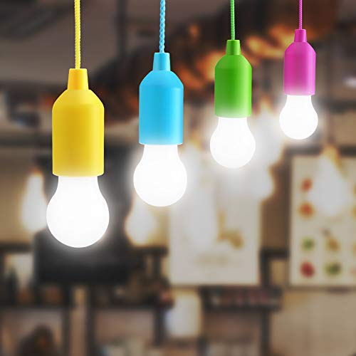 Lightess 4er Pull LightLampe Ziehlampe Camping Tragbare LED Leuchte Colors Glühbirnen Campinglampe Dekoratives Licht Pendelleuchte für Party Garten Schuppen Zelt Camping Dachboden Kleiderschrank