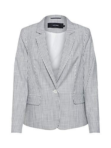 VERO MODA Damen VMGALLY 7/8 Blazer Anzugjacke, Mehrfarbig (Night Sky Stripes: Snow White), (Herstellergröße: 38)
