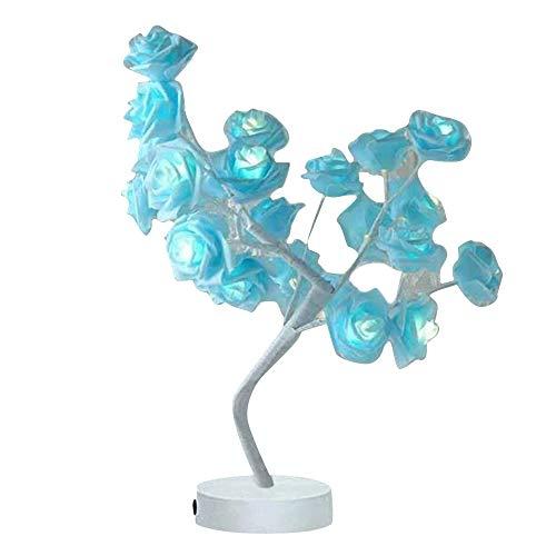 花ランプ バラランプ ランプツリー テーブルスタンド イルミネーション LED ライト 部屋飾り花 パーティー用 結婚式用 省エネルギー 造花 ライト 電池式 (ブルー)