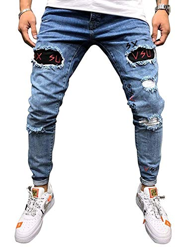 HX fashion メンズスリムフィットストレッチスキニーリッピングデニムジーンズ破壊されたテーパーレッグパンツ男性ファッション (Color : Bleu, Size : 2XL)