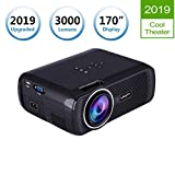 TOPRUI LCD LED Light 3000 Lumens Mini Video Projector Portable Home Theater,170' Display Support HD 1080P for Outdoor Movie Night, Family Entertainment, Compatible with Phone DVD Player HDMI USB SD