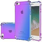 Gufuwo for iPhone se Case (2016), iPhone 5s Case, iPhone 5 Cute Case, Gradient Slim Anti Scratch Soft Clear TPU Phone Case Cover Shockproof Case for iPhone 5/5s/se (Purple/Blue)